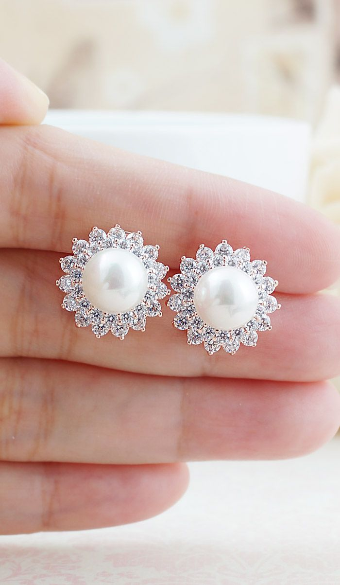 Halo Style Cubic Zirconia and pearl Bridal Ear Stud in Rose Gold from EarringsNation Rose gold Earring
