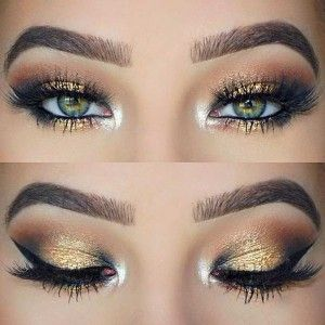 Black and Gold Eye Makeup Look for Green Eyes. Follow me: forever_wild1 for more!