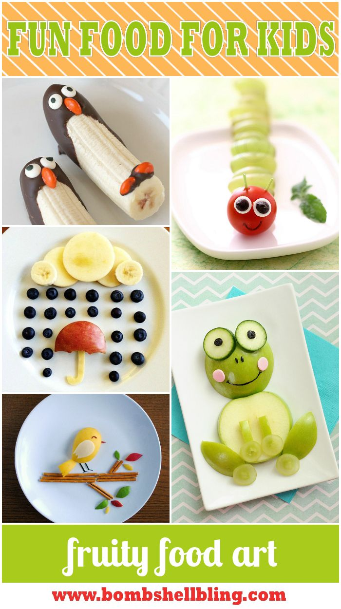 """15 Fun Food Art for Kids Ideas – Give kids the """"tools"""" and the pic and they can create them"""