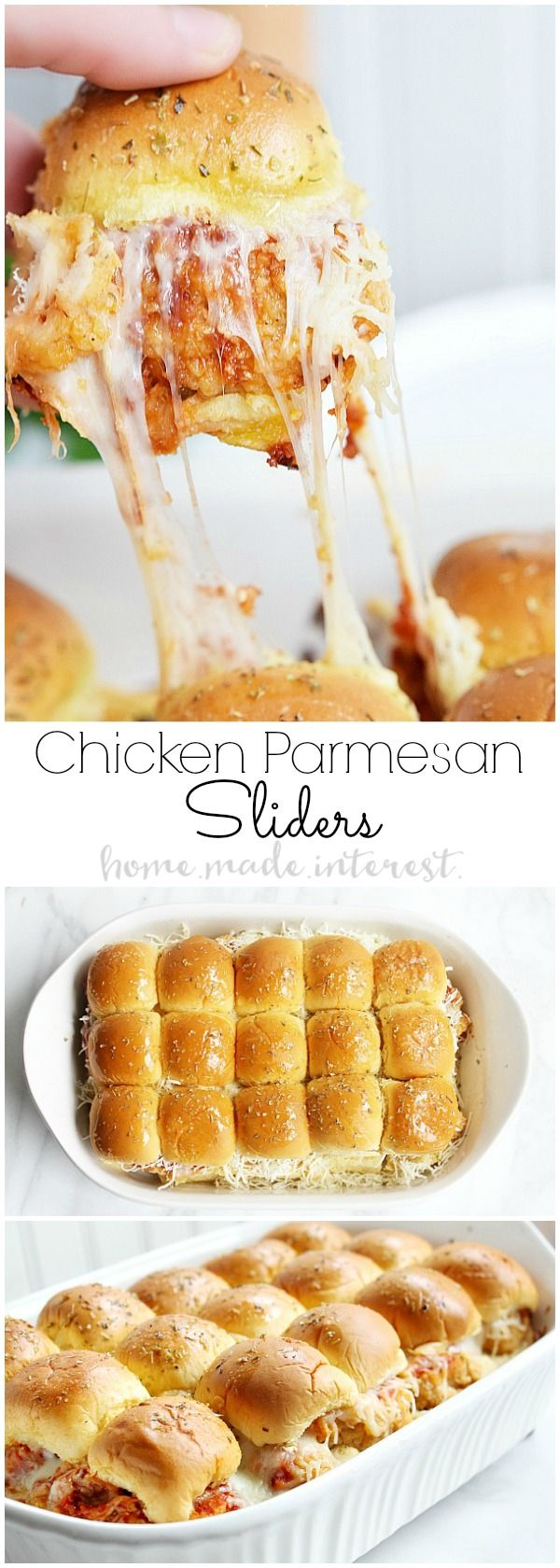 These Chicken Parmesan sliders are an easy recipe that everyone is going to love. Fried chicken tender