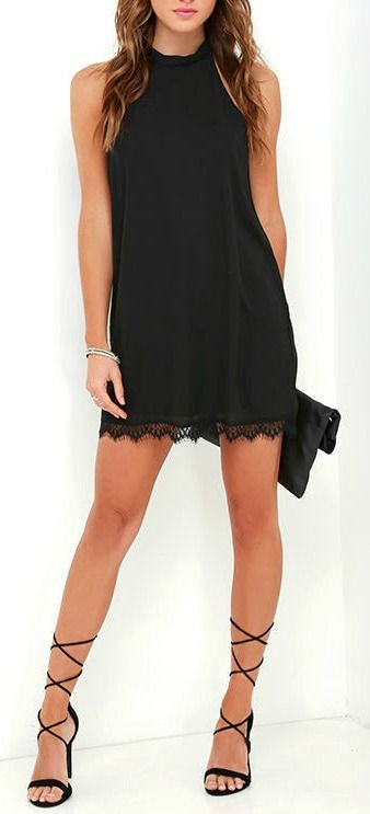 Love is in the air, or is it just the Such Admiration Black Lace Dress?! Lightweight woven poly fabric