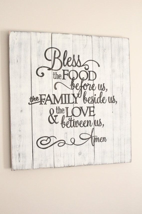 Bless the food before us rustic sign. To order, email me at jenniferann1015@g…