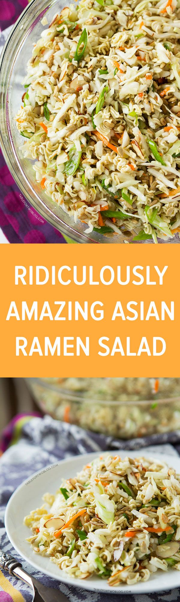 This ridiculously amazing Asian ramen salad will have you and your guests going back for thirds and fo