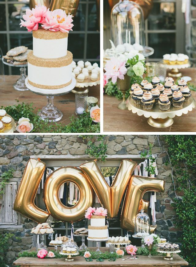 gold LOVE balloons behind the dessert table. Great for a bridal shower or engagement party!