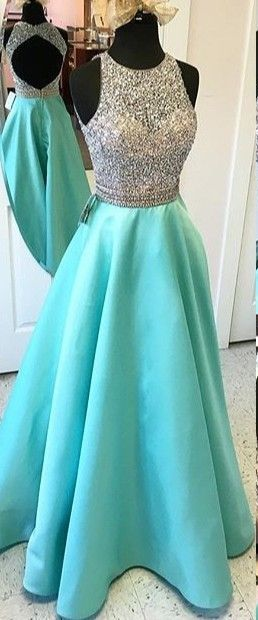 Teal Cap Sleeves Long Charming A-line Prom Dresses,Beading Open Back Satin Prom Dresses,Modest Evening