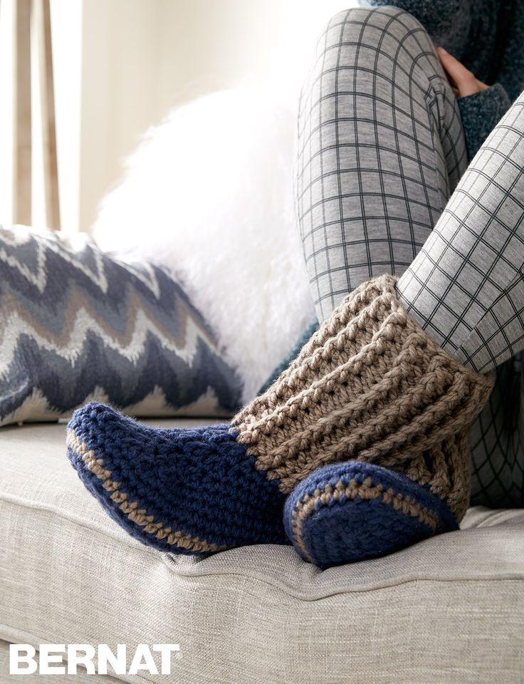 Slipper Socks – FREE Crochet pattern | Yarnspirations