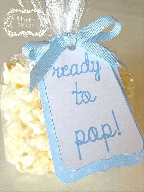 Ready to Pop – popcorn favors for baby shower