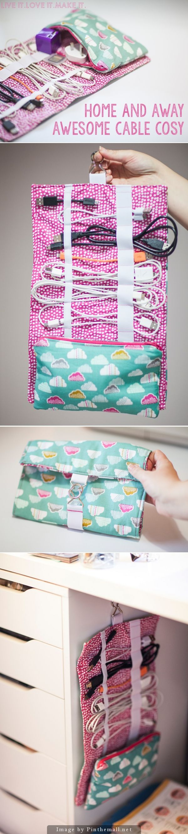 """""""Cable Cord Cozy – Clear tutorial including a free PDF download for how to make this useful bag for yo"""