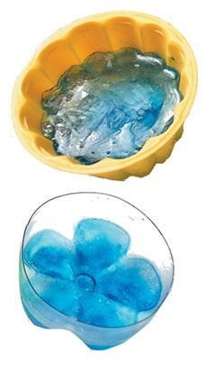 Make ice in the bottom of plastic bottles, looks like a flower…float in a bowl of punch…so cute!!
