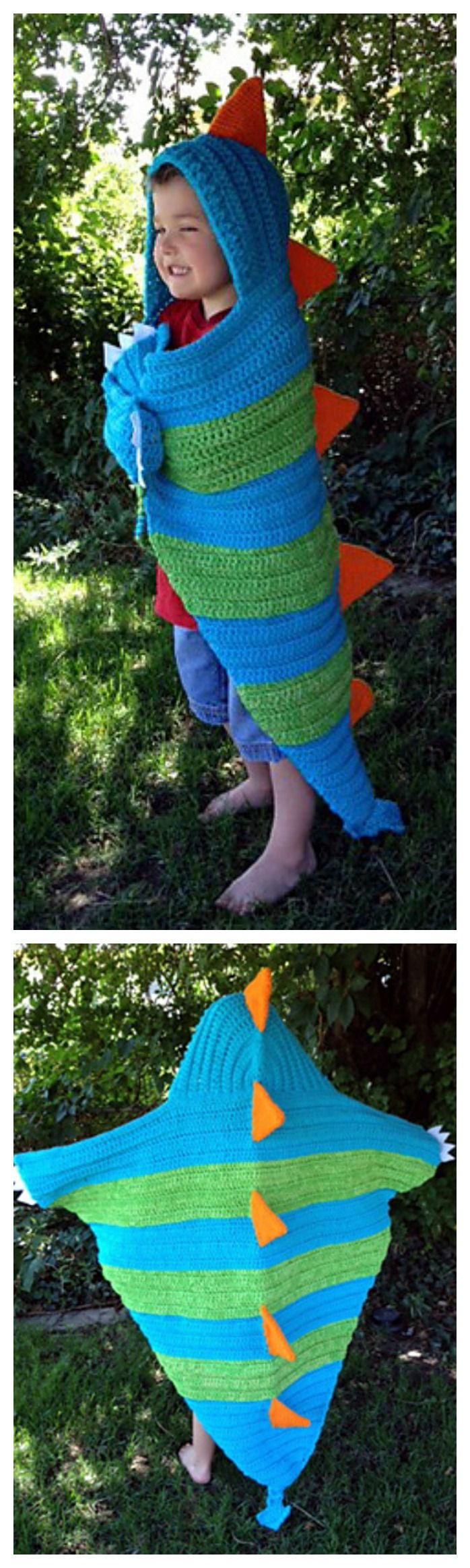 Absolutely Adorable Hooded Dragon Blanket Crochet Pattern –