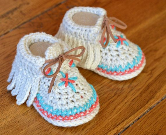 Crochet Pattern Baby Shoes Native American Moccasins 3 Sizes Easy Photo Tutorial�