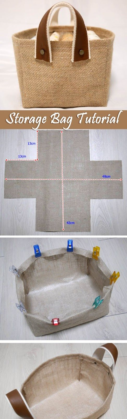 Storage Fabric Burlap Box Pattern and Tutorial. Bag Step by step photo tutorial.