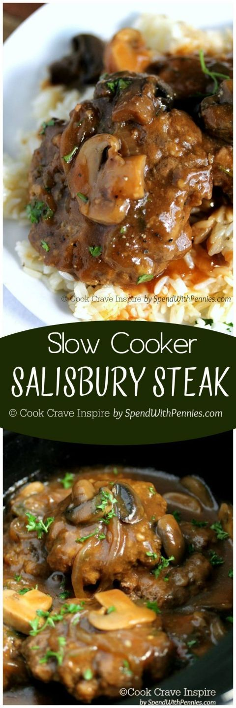 I love this recipe!! Slow Cooker Salisbury Steak! Perfectly tender beef patties si