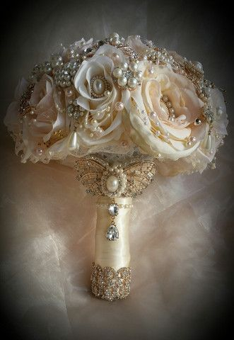 This is for a Custom made Vintage Inspired Jeweled Wedding Bouquet This bouquet is