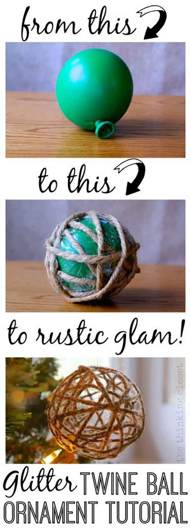 DIY Glitter Twine Ball Ornament Tutorial | 27 Spectacularly Easy DIY Christmas Tre