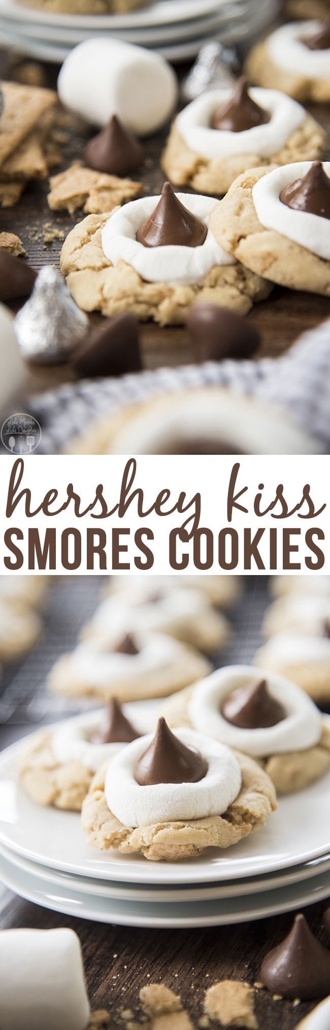 Hershey Kiss Smores Cookies – These smores cookies start with a graham c