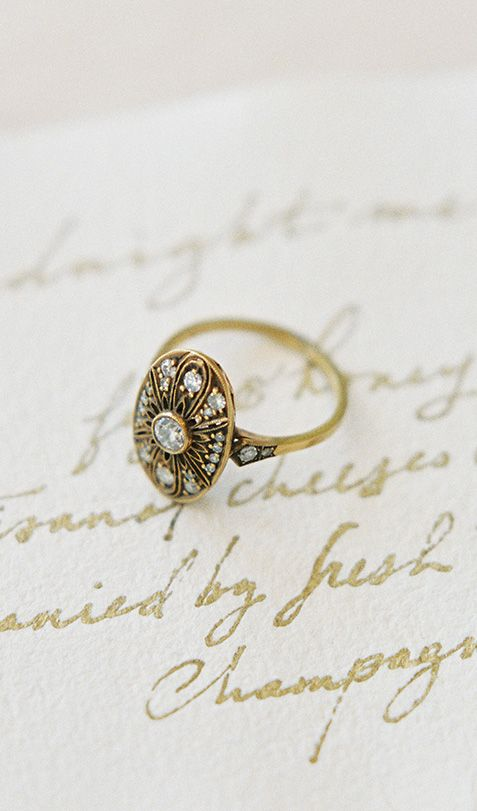 LOVE this gold vintage-inspired engagement ring! Shop TrumpetandHorn.com for more