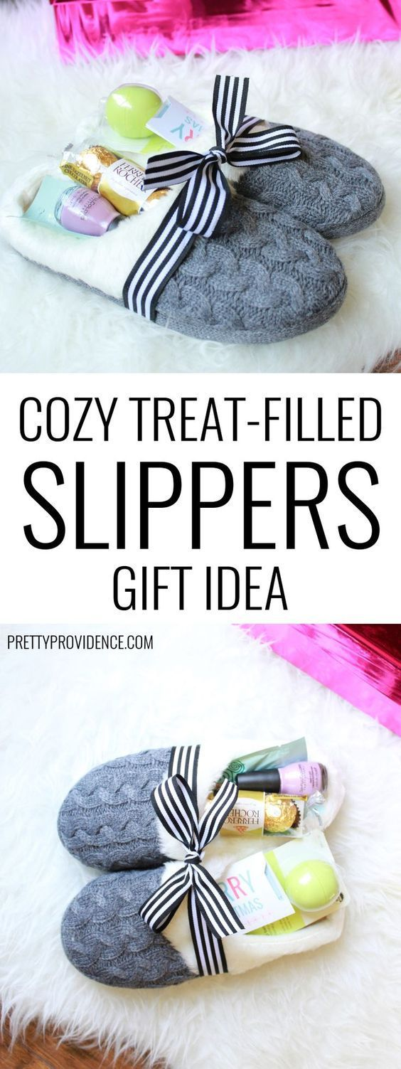 Cozy Slippers filled with Pampering Treats DIY Gift Bundle Idea via Pretty Provide