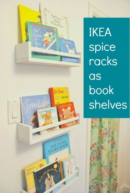 Using IKEA spice racks as bookshelves in a nursery. Great way to have outward faci
