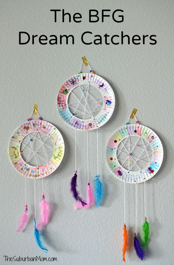 Paper plate dream catchers inspired by Roald Dahl and Disneys The BFG. Easy k