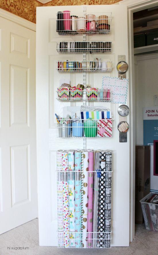 Hi Sugarplum | Organized Craft & Gift Wrap Great idea to use the back of doors