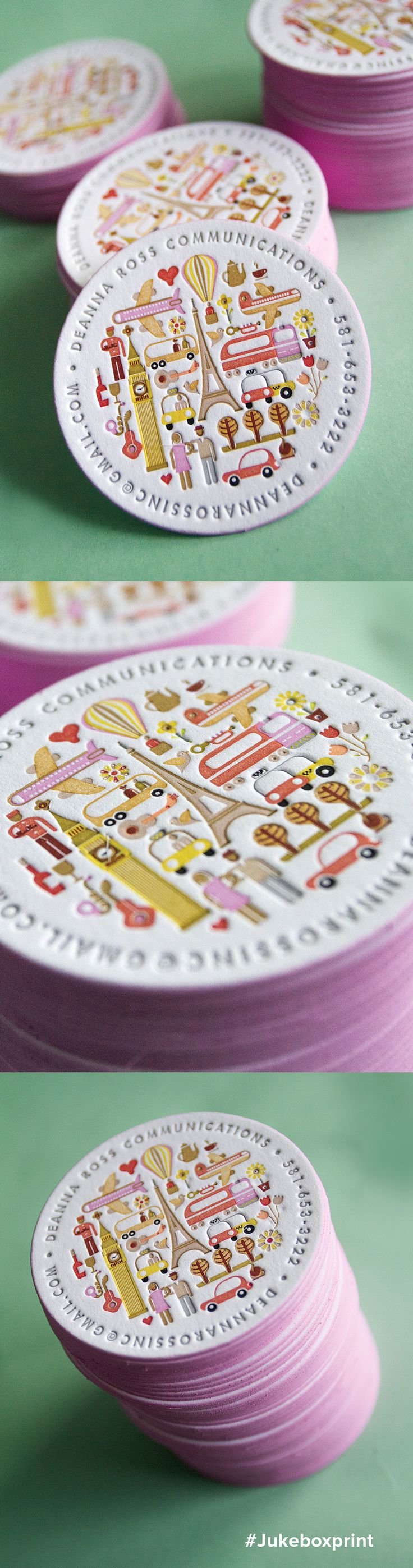 Cute circular business card produced with 15 colors of Letterpress and finished wi