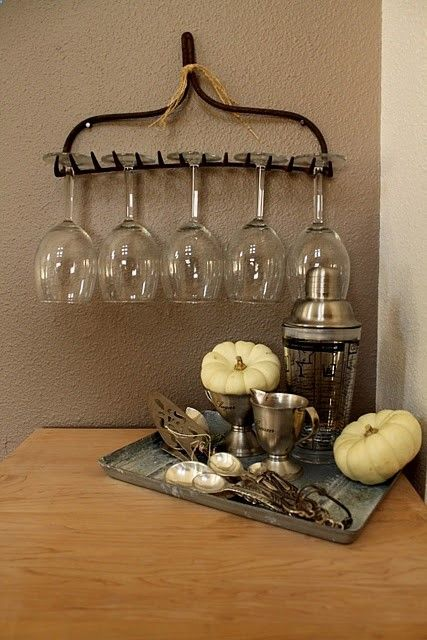 outside entertaining idea ~ quick set up ~ hang glasses and use a tray for the goo
