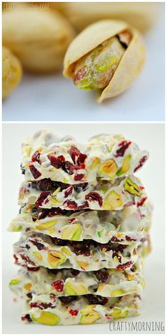 Christmas Bark Recipe using dried cranberries, pistachios, and white chocolate chi