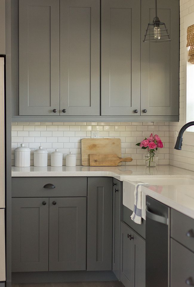 Gray kitchen cabinets (Kraftmaid Durham Maple Square in Grayloft and Dove White),