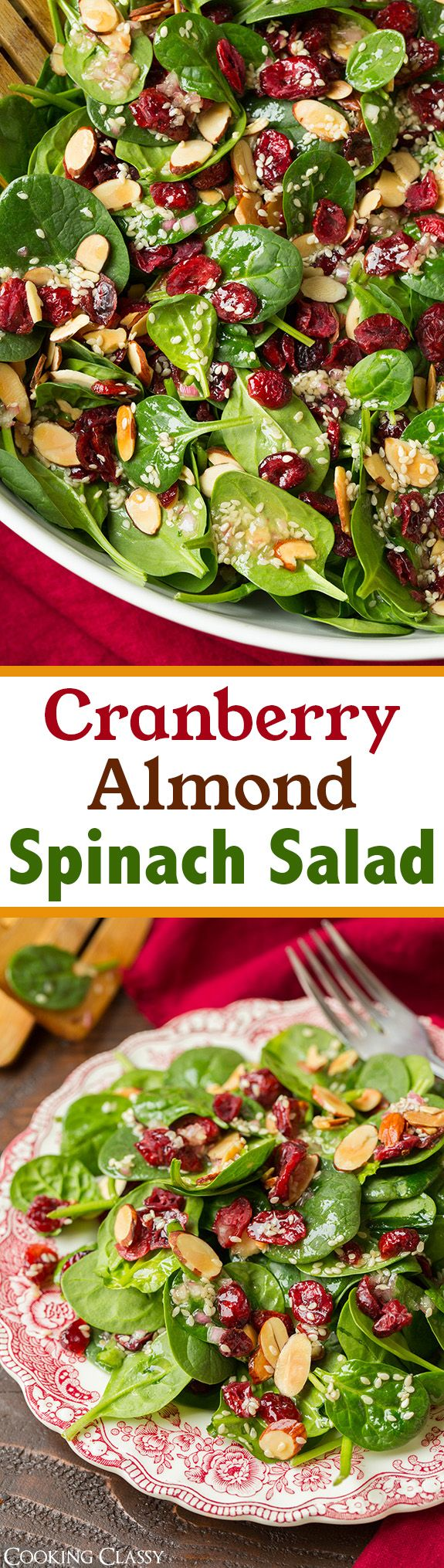 Cranberry Almond Spinach Salad with Sesame Seed Dressing – A delicious, simple and