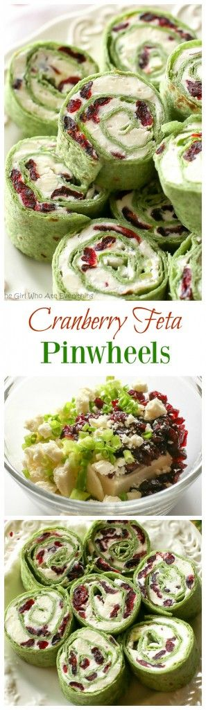 Cranberry Feta Pinwheels: a sweet and salty combo that's perfect for a Christmas a