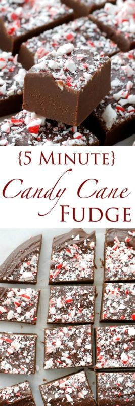 Creamy chocolate peppermint fudge is topped with crushed candy canes for the ultim