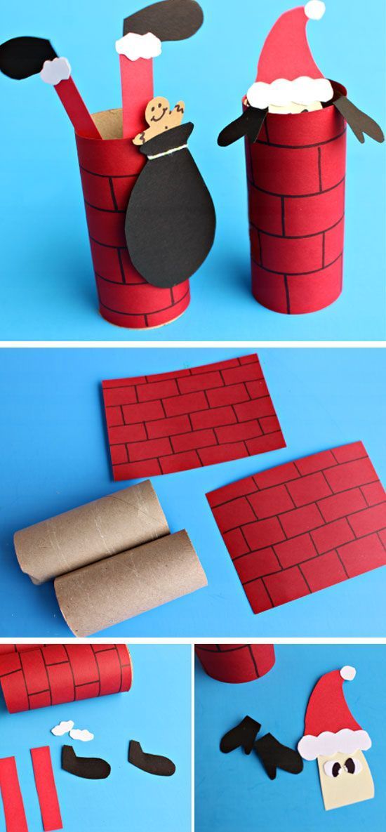 Santa Going Down a Toilet Paper Roll Chimney | Click Pic for 20 DIY Christmas Deco