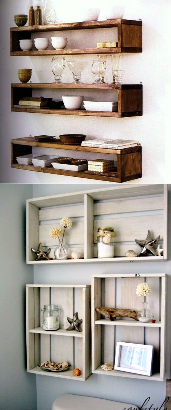 16 easy tutorials on building beautiful floating shelves and wall shelves! Check o