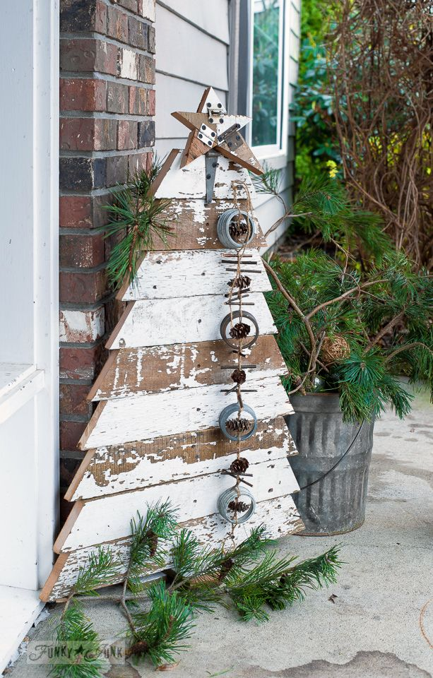 Reclaimed wood Christmas tree and star in chippy white boards for a front porch /