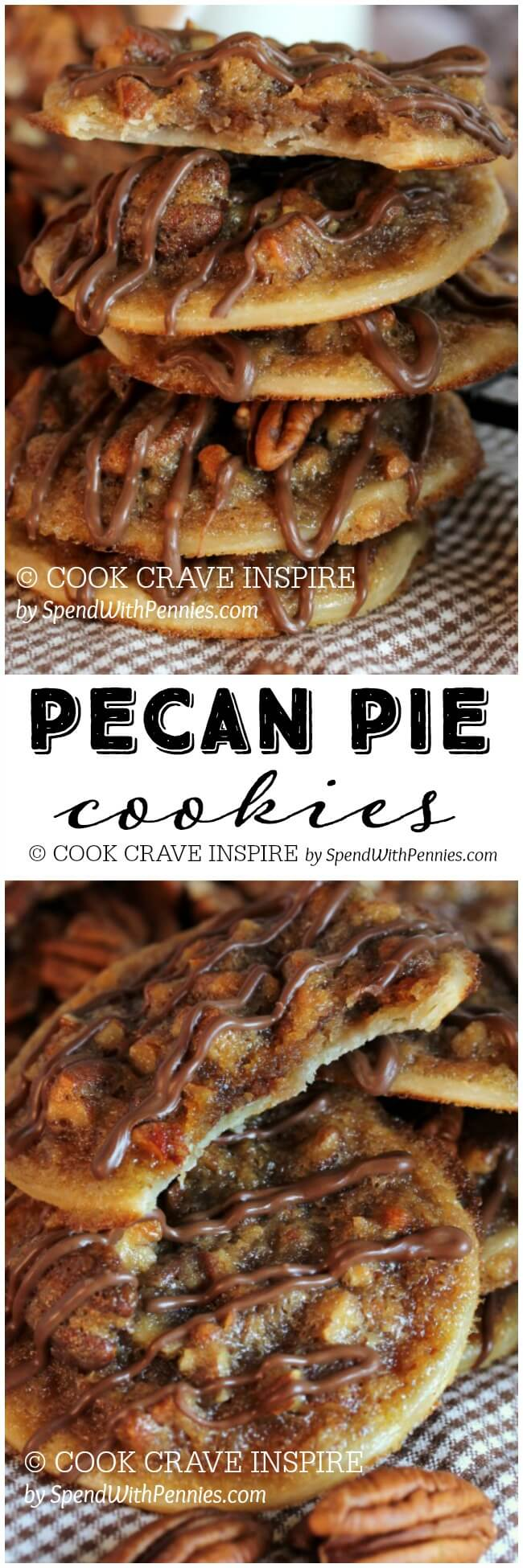 Pecan Pie Cookies! These have a deliciously sweet, caramel-y, nutty filling with a