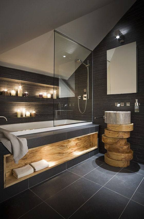 great with a large soaking style tub, dark looks good and the built in shelf in th