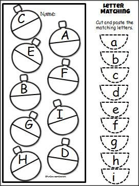 Christmas Uppercase Lowercase Cut and Paste Activity for PreK and Kindergarten.  F