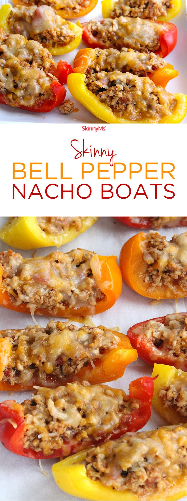 These Skinny Bell Pepper Nacho Boats are  Low-Carb, Low-Calorie, High Protein and