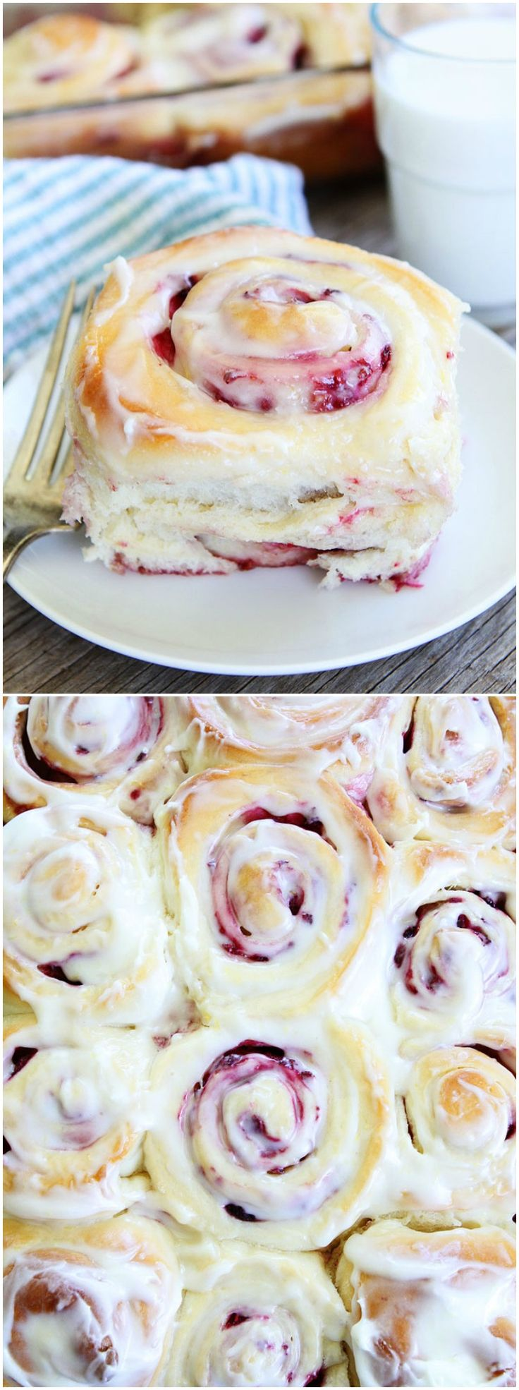 Raspberry Sweet Rolls Recipe on twopeasandtheirpo… Love these soft and sweet yea