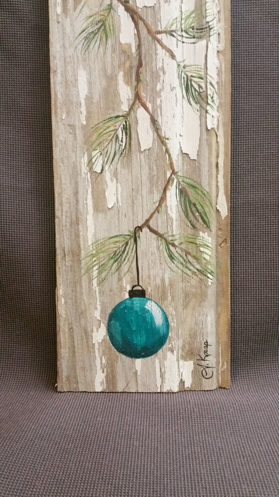 Turquoise – Teal Hand painted Christmas decoration, GIFTS UNDER 25, Pine Branch wi