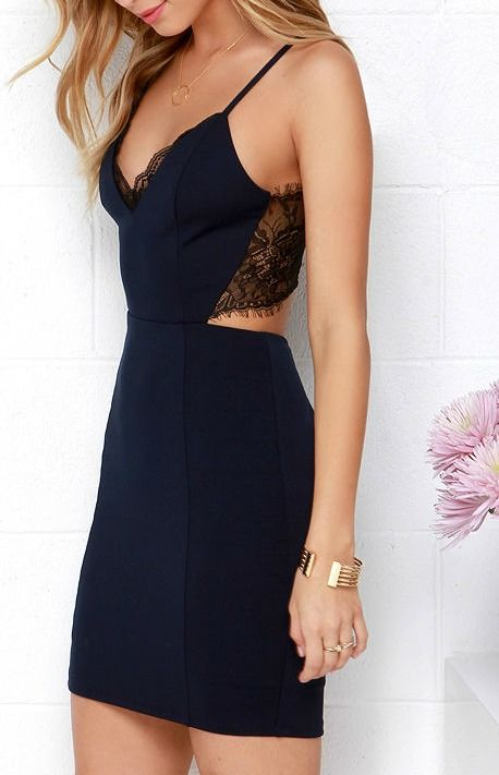 The lacy look of the Heartbeat Song Black and Navy Blue Backless Lace Dress is eno