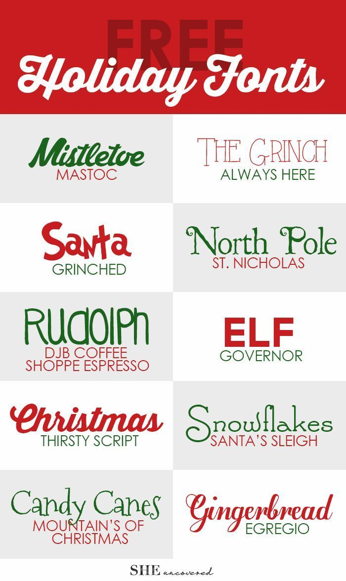 free holiday fonts – perfect for using on Christmas cards, gift tags, and DIY holi