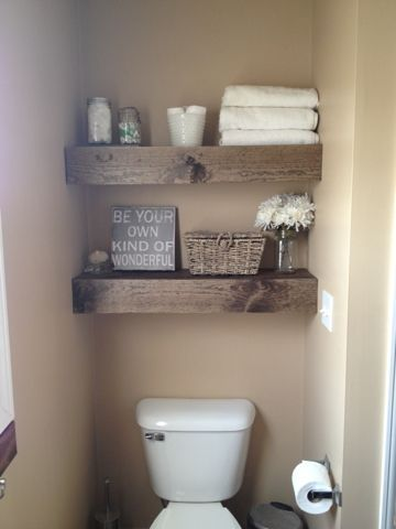 I love the chunky look that stretches from one wall to the other in a small space.