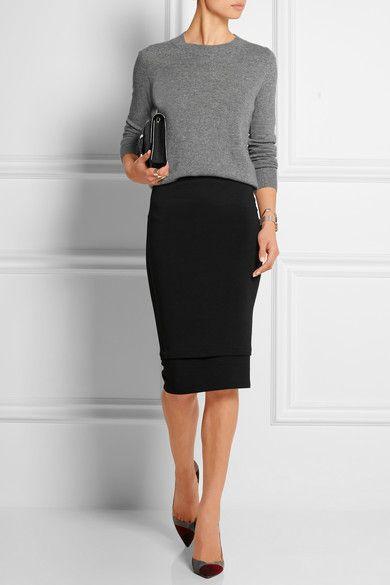 Donna Karan New York pencil skirt + gray top