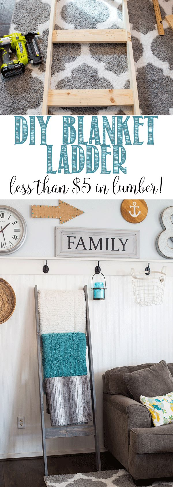 DIY Blanket Ladder for less than $5 in lumber!!!!  Great step by step tutorial so