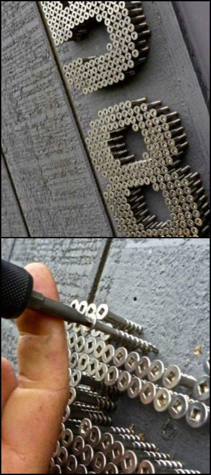 An unusual idea for house numbers.This is an industrial idea that uses screws driv