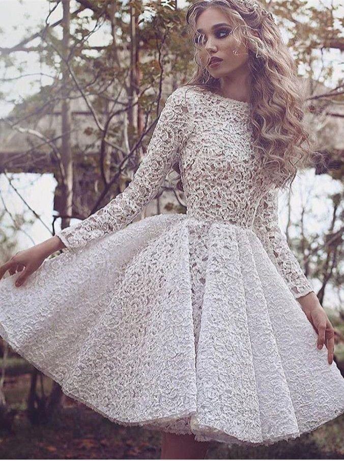 White Long-Sleeves Short Glamorous Full-Lace Homecoming Dress BA3645_High Quality