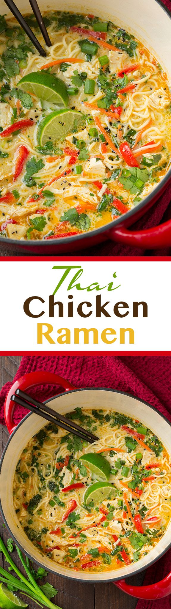 Thai Chicken Ramen – this soup features many layers of flavors, including onion, g