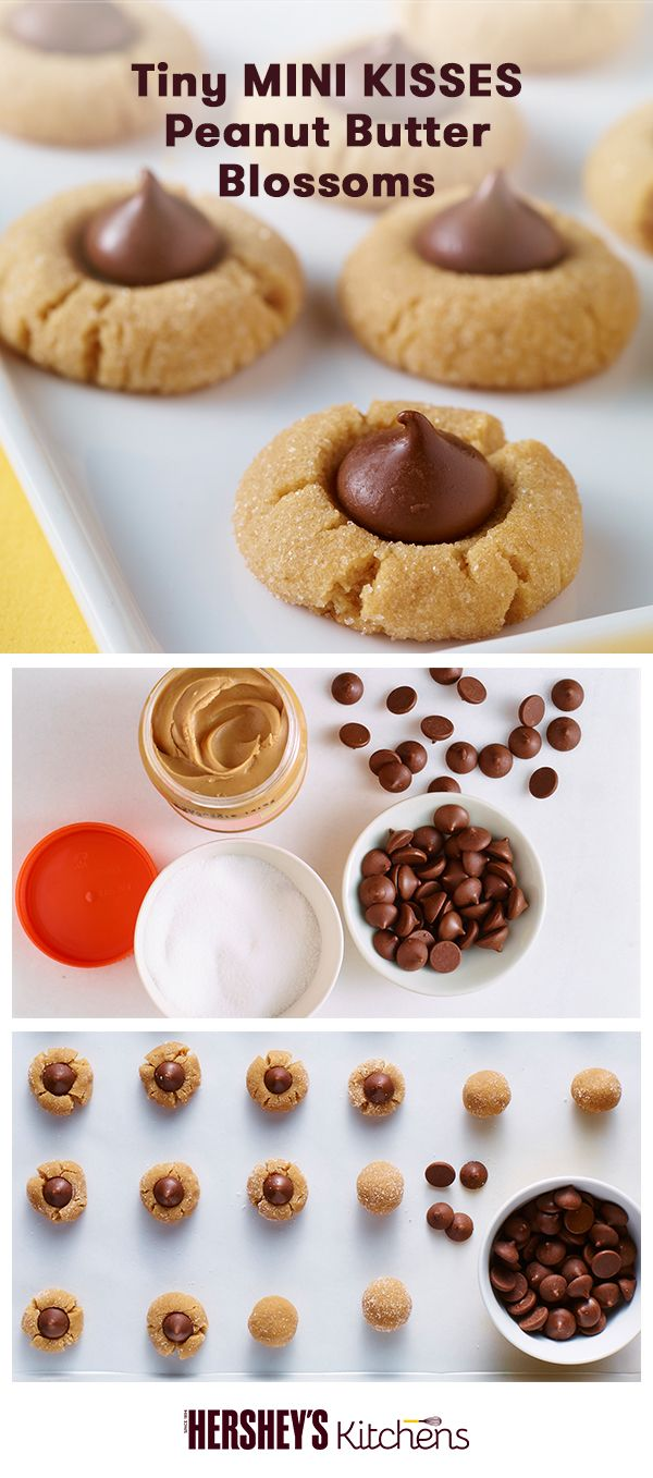 These Tiny MINI KISSES Peanut Butter Blossoms are the perfect grab-and-go treat an